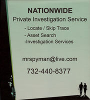 Private Investigations - (732) 440-8377 - Assets & Skip Trace Searches